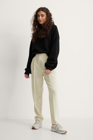 Beige Tapered Suit Pants