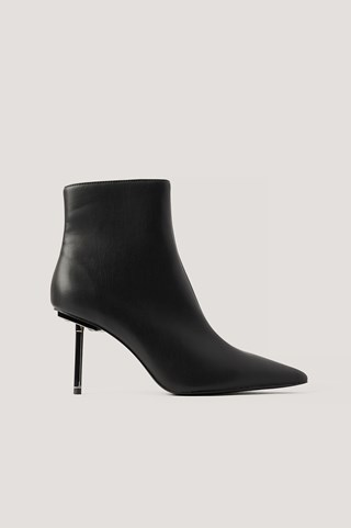 Black Metal Stiletto Pointy Boots