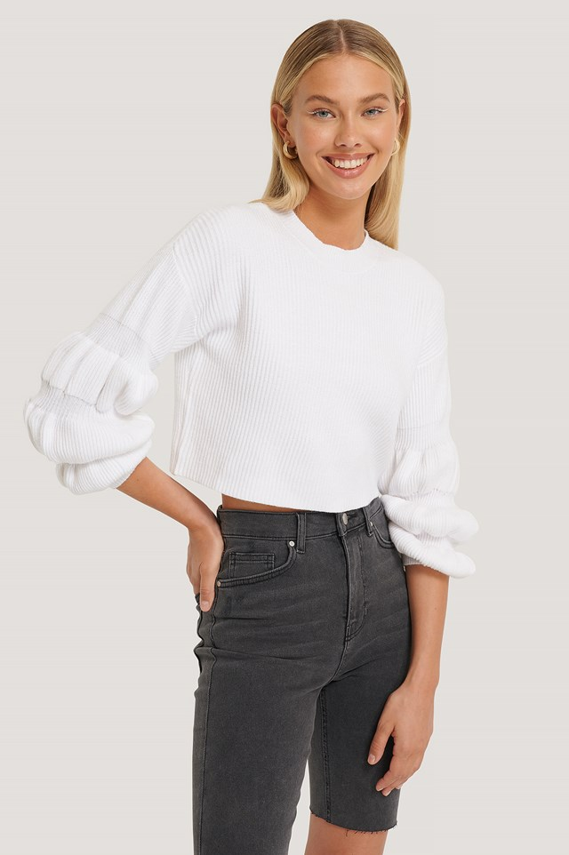 Cropped Bubble Sleeve Sweater White