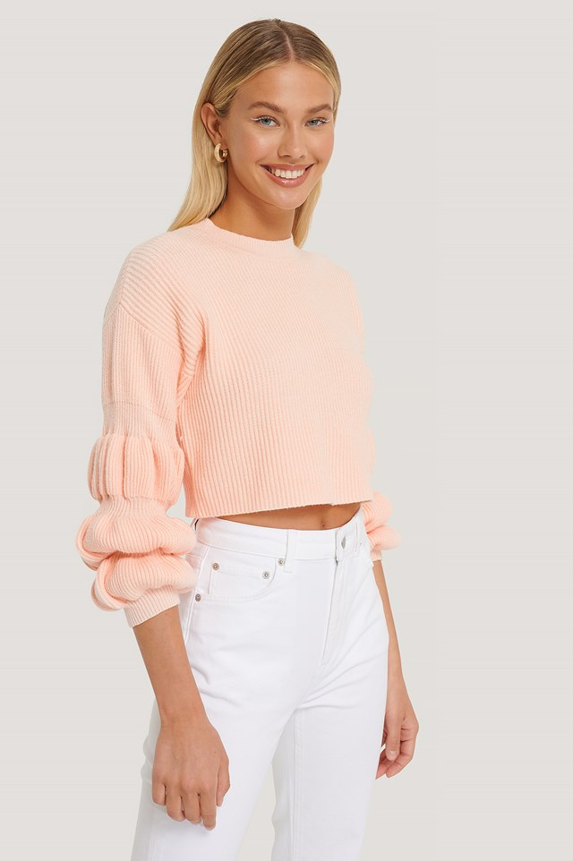 Cropped Bubble Sleeve Sweater Pink