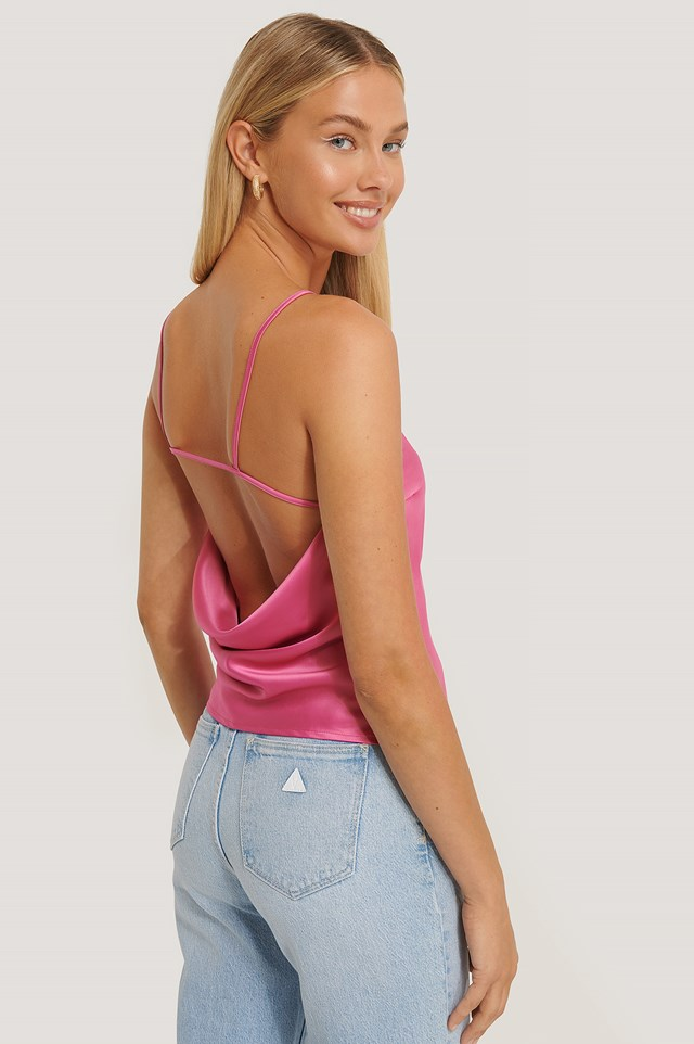 Open Back Strap Top Strong Pink