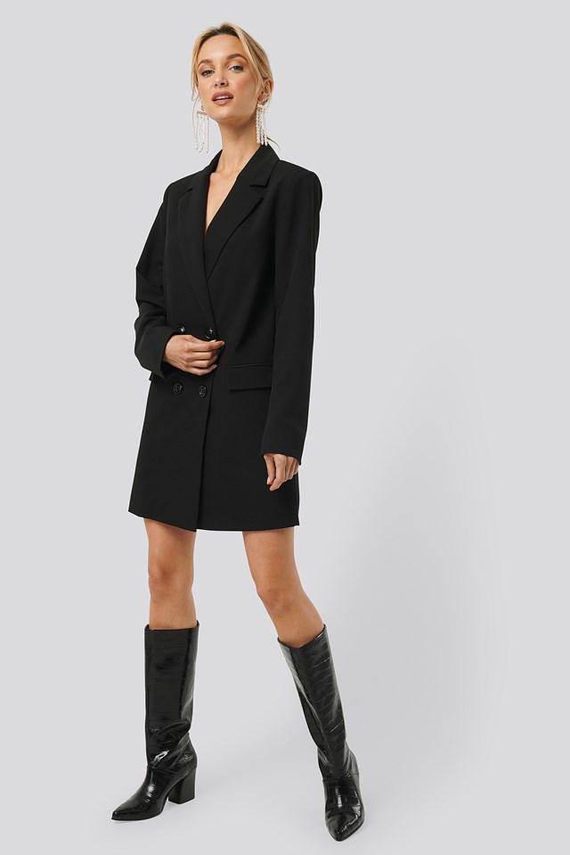 Double Breasted Blazer Dress Black