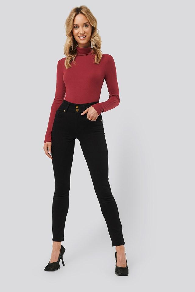 High Waist Slim Fit Jeans Black