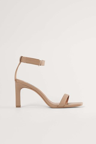 Dark Beige Basic Ankle Strap Sandals