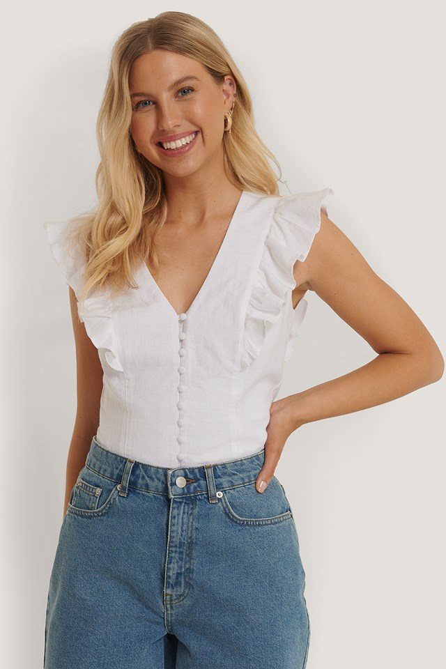 Flounce Front Top White