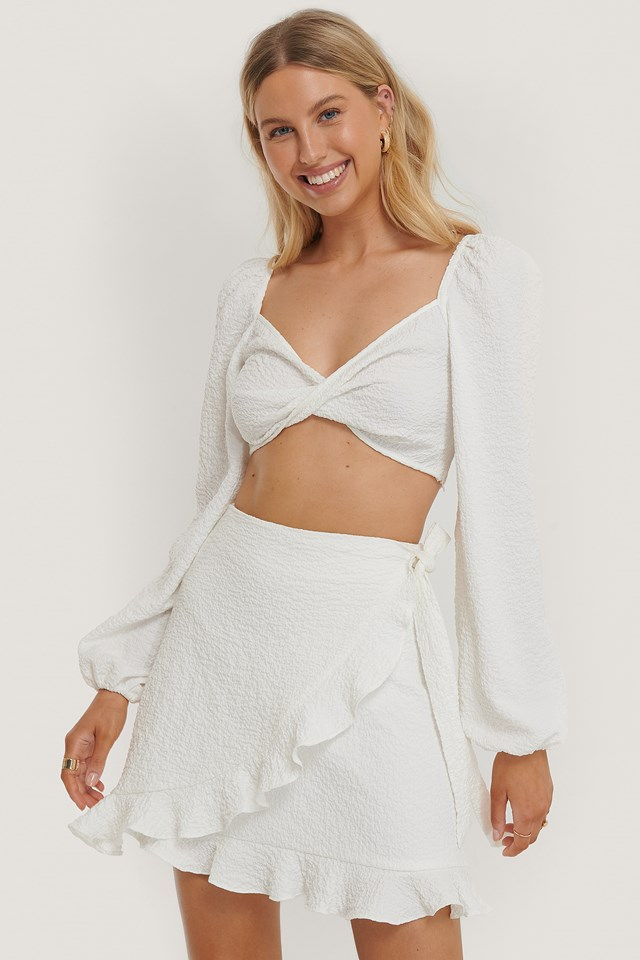 Flounce Tied Side Mini Skirt Off White