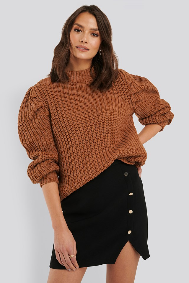 High Neck Puff Sleeve Knitted Sweater Rust
