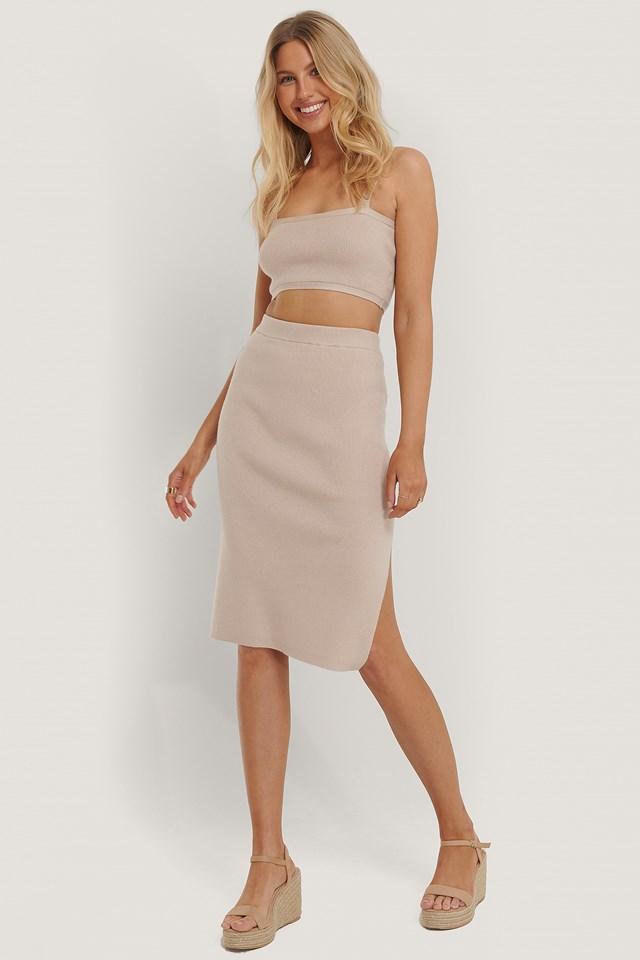 Knitted Midi Skirt Beige