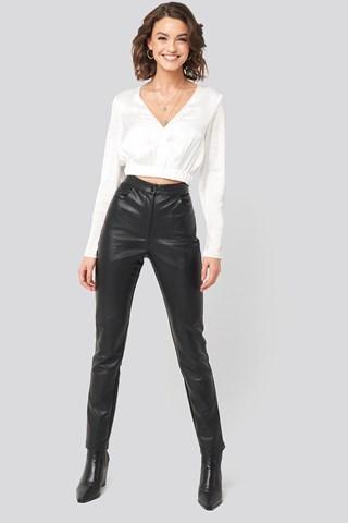 Black PU-Leather Slim Pants