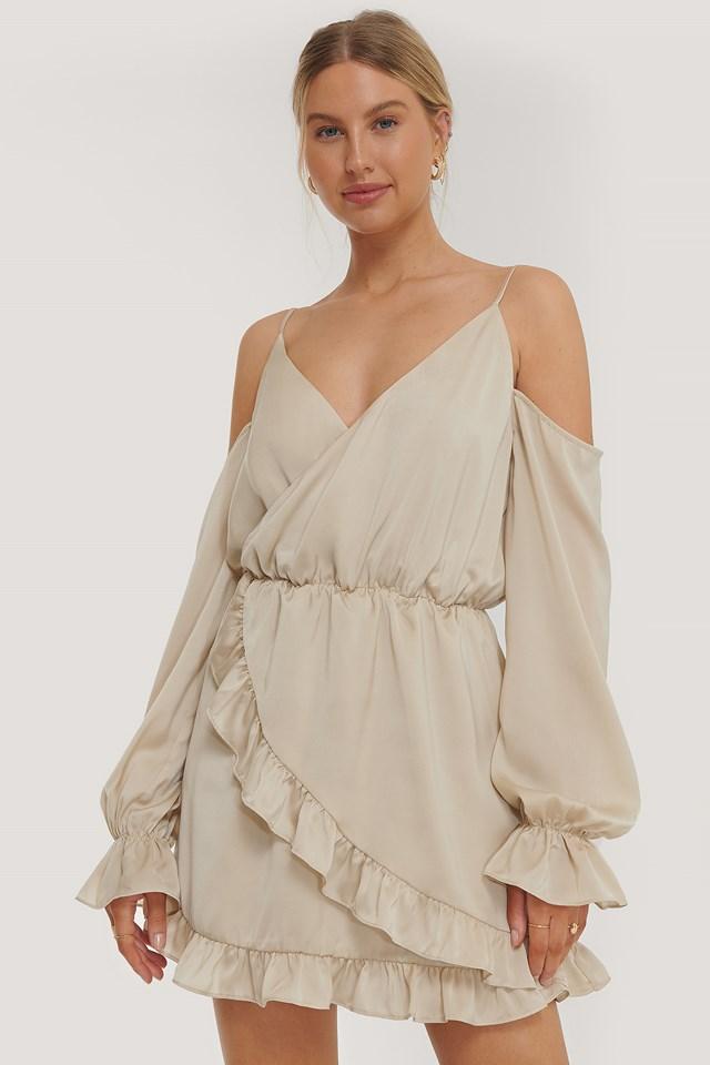 Slip Shoulders Flounce Mini Dress Beige