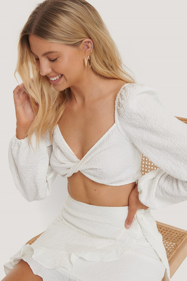 Wrap LS Cropped Top Off White