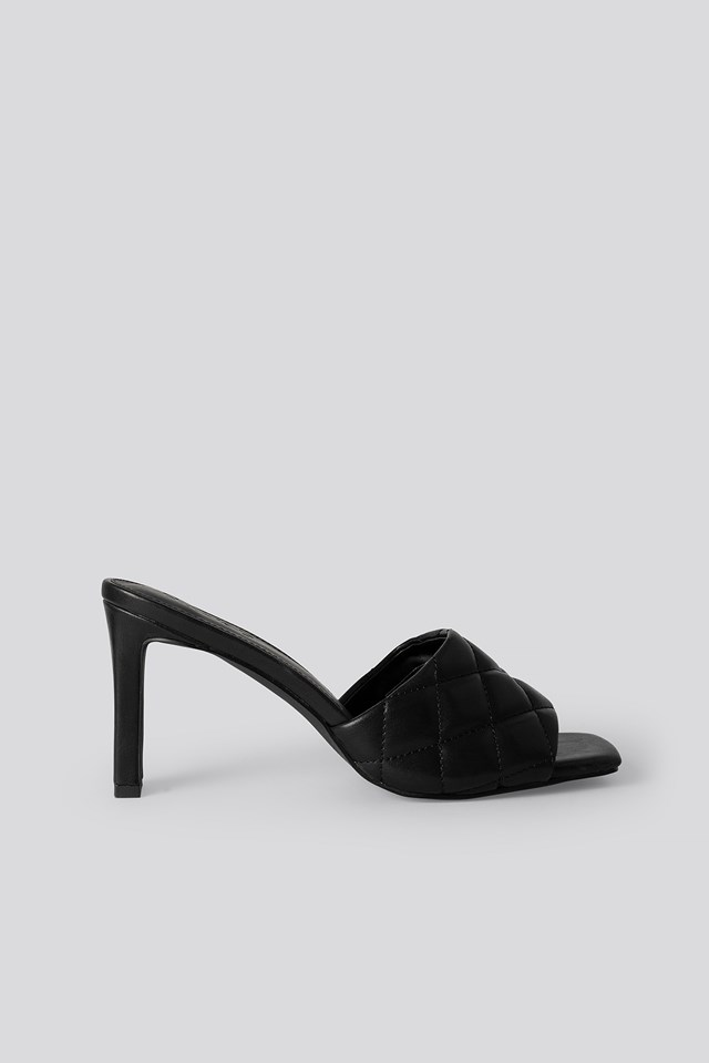 Quilted Heeled Mules Black