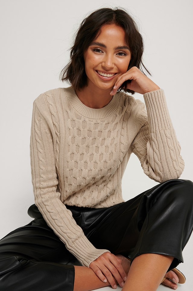 Cable Knit Round Neck Sweater Light Beige