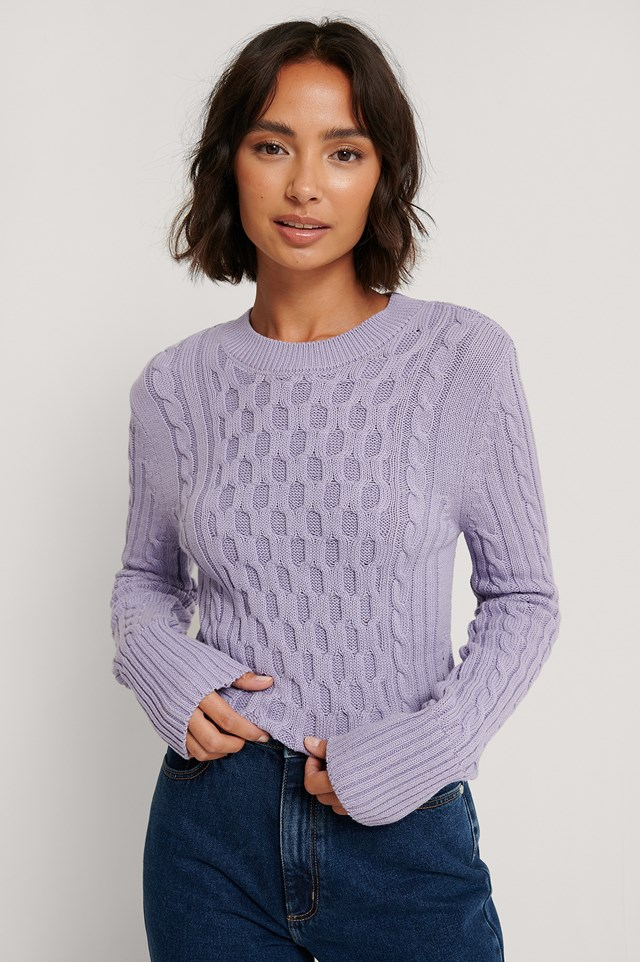 Cable Knit Round Neck Sweater Light Purple
