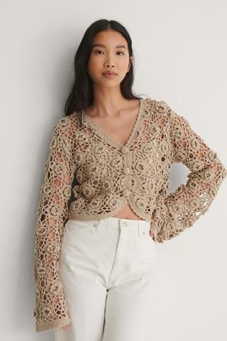 Beige Flower Crochet Cardigan