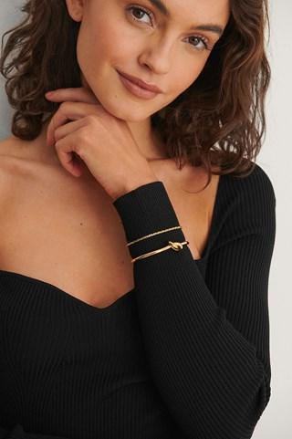 Gold 18K Gold Plated Knot Bracelet Set
