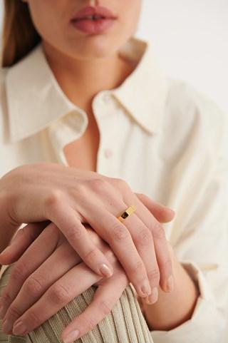 Gold 18K Gold Plated Slim Signet Ring