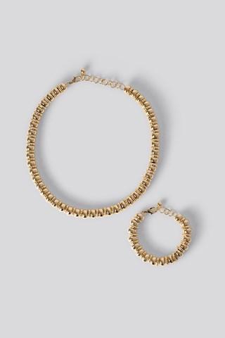 Gold 2-pack Multi Gold Pearl Necklace/Bracelet