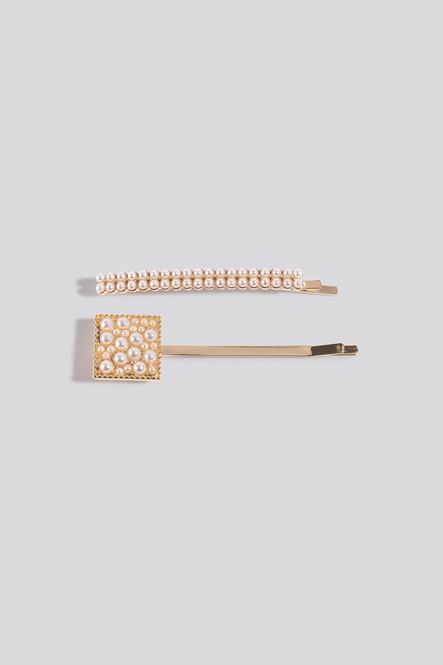 2-pack Square Pearl Hairclips Gold