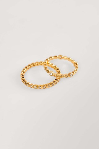 Gold 2-Pack 18K Gold Plated Sparkling Rings