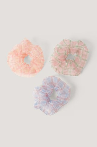 Mixed 3-Pack Checkered Organza Scrunchies