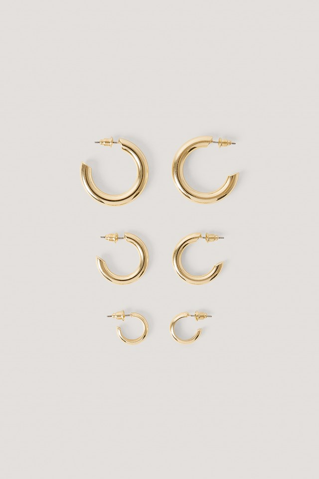 3-Pack Chubby Hoops Gold