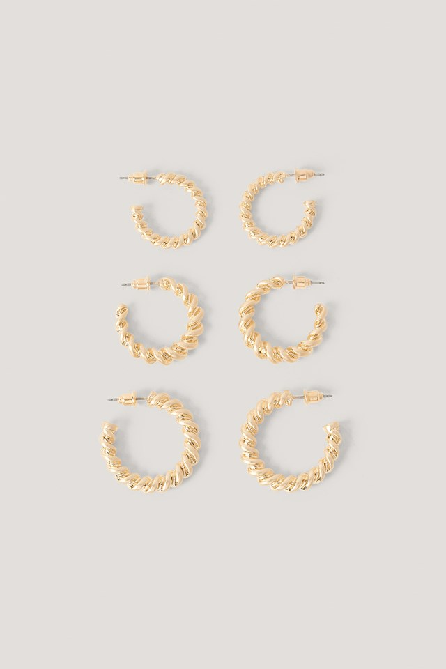 3-Pack Chubby Twisted Hoops Gold