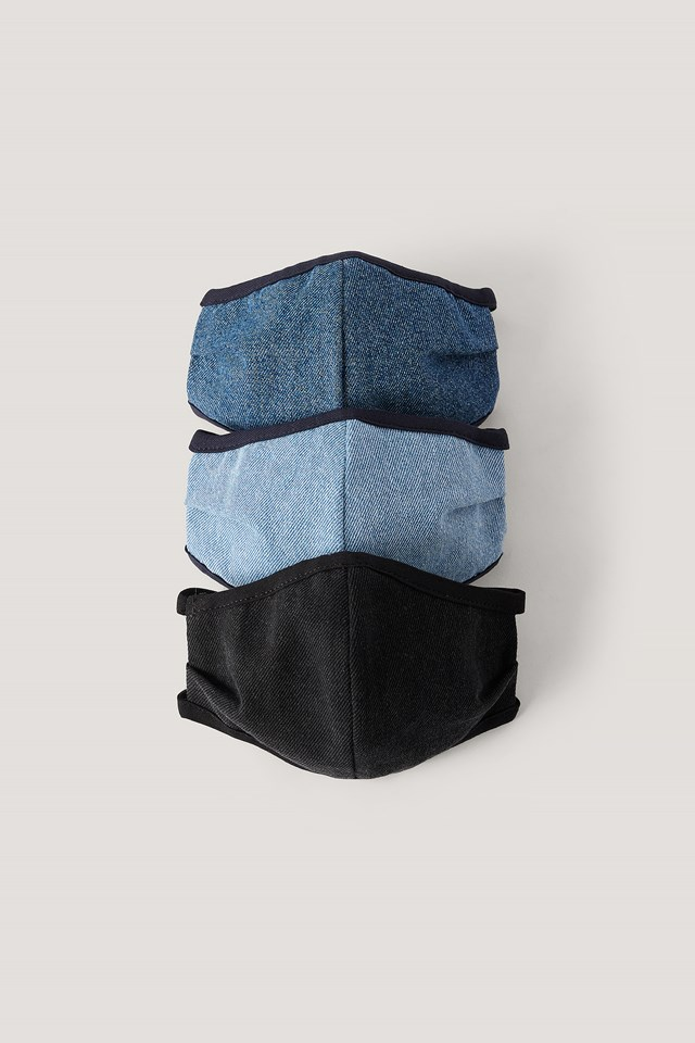 3-Pack Denim Face Masks Blue Combo