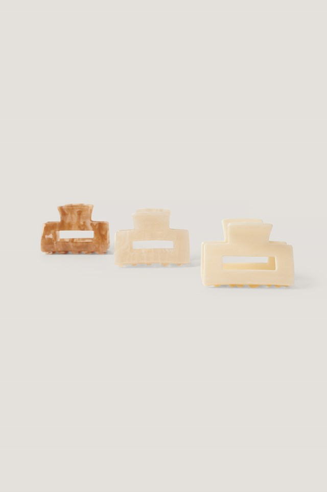 3-Pack Mini Squared Hairclips Beige/Brown