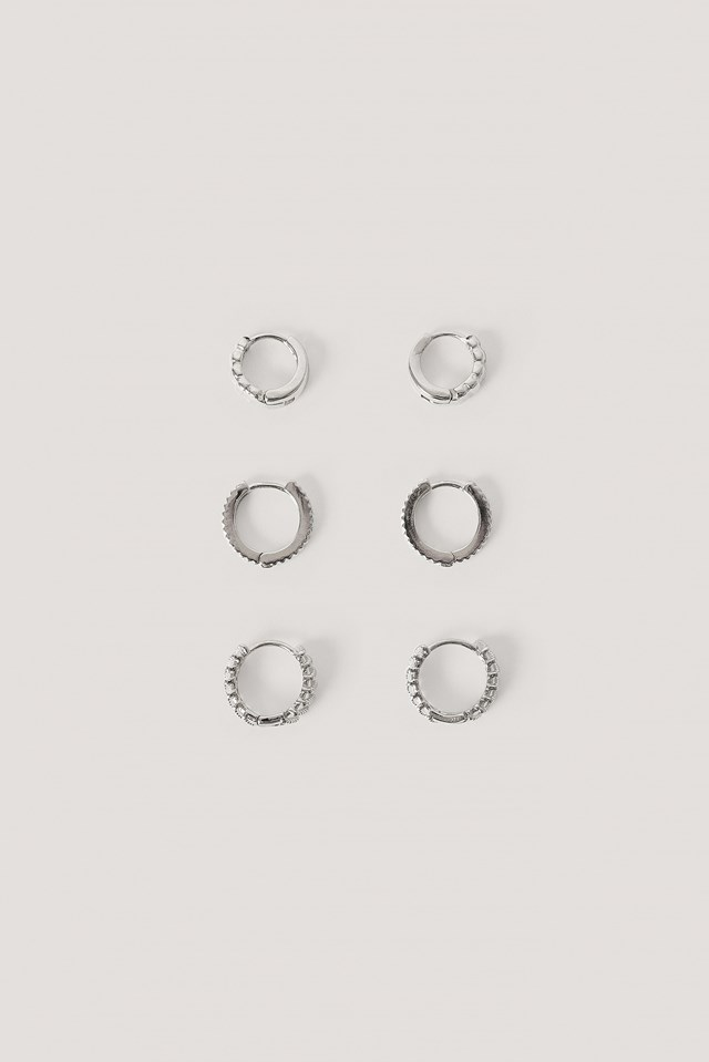 Silver 3-Pack Structured Tiny Hoops