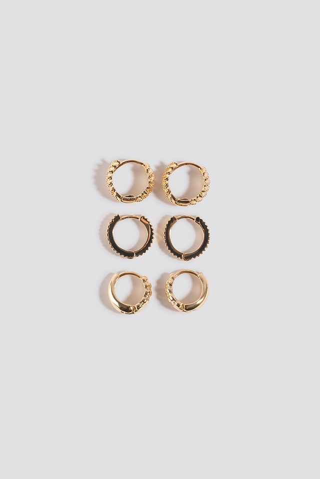 3-Pack Structured Tiny Hoops Gold