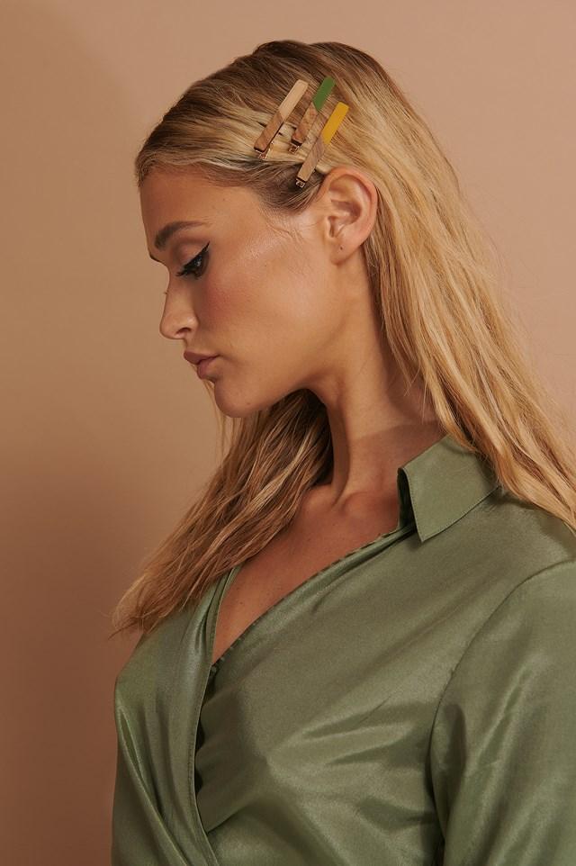 3-pack Wood Detail Hair Clip Multicolor