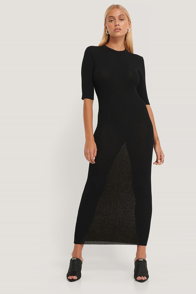 3/4 Sleeve Ribbed Knitted Dress NA-KD Trend