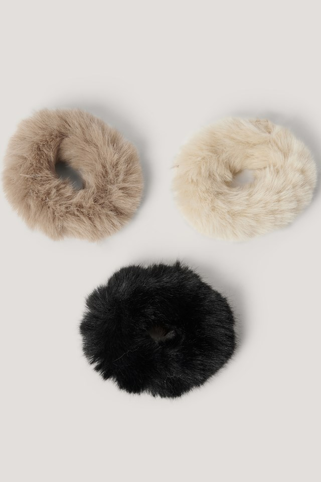 3-Pack Fake Fur Scrunchies Mixed