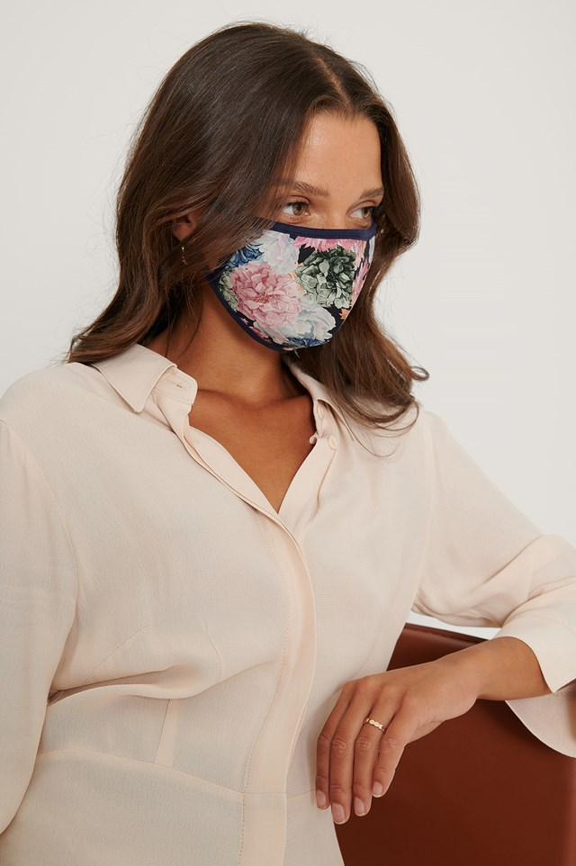 3-Pack Printed Face Masks Pink/Blue