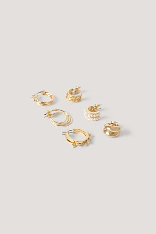 Gold 6-Pack Mixed Mini Hoops