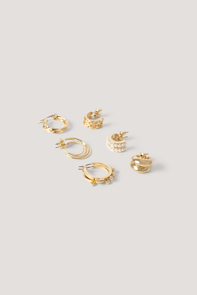 6-Pack Mixed Mini Hoops Gold