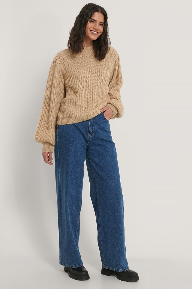Puff Sleeve Knitted Sweater Beige