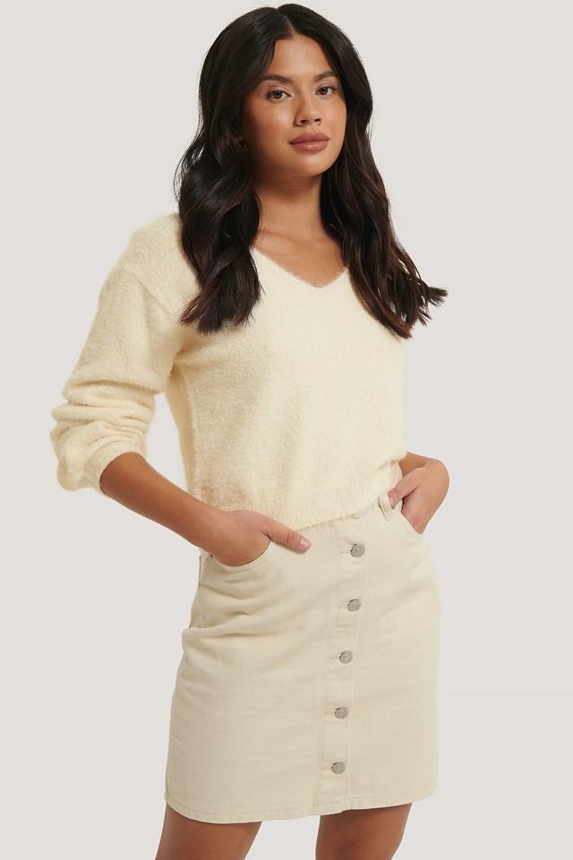 A-line Buttoned Denim Skirt Ecru