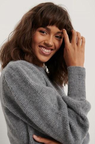 Grey Alpaca Blend Balloon Sleeve Knitted Sweater
