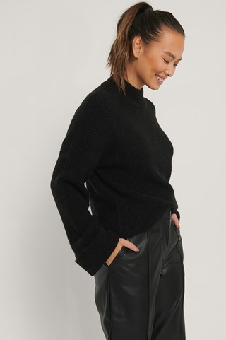 Black Alpaca Blend High Neck Knitted Sweater