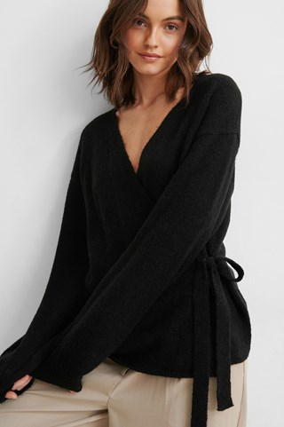 Black Alpaca Blend Overlap Knitted Sweater