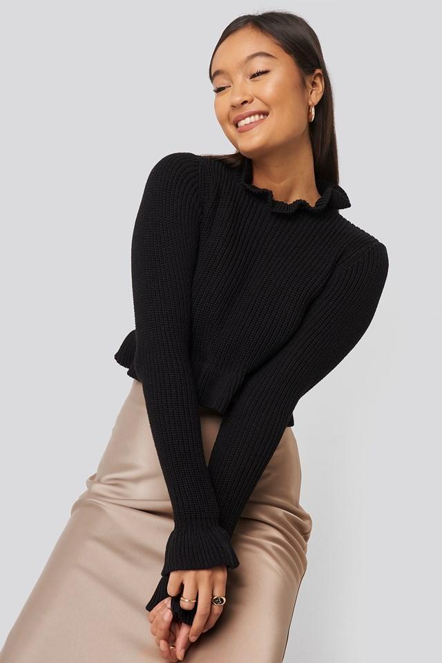 Andrea Badendyck Ruffle Knitted Top Black