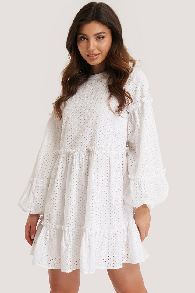 Anglaise Balloon Sleeve Frill Dress White