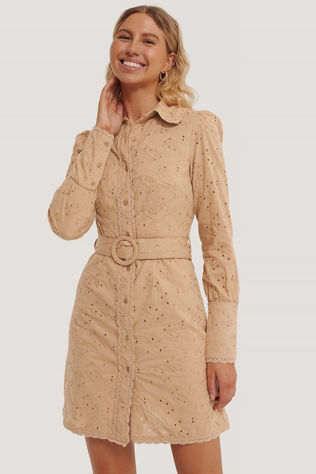 Anglaise Collar Mini Dress Beige