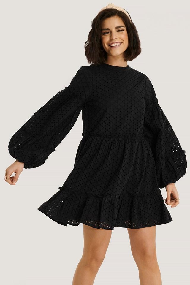Anglaise Balloon Sleeve Frill Dress Black