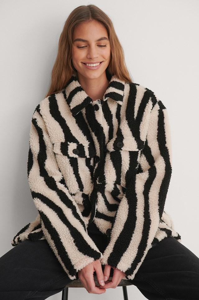 Zebra Animal Printed Shirt Jacket