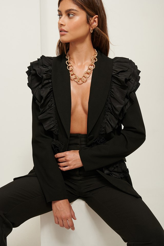 Frilled Shoulder Blazer Black