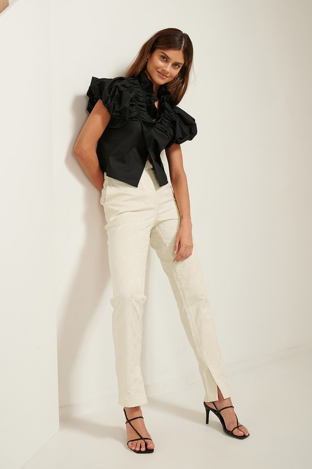 Jacquard Slit Pants Cream