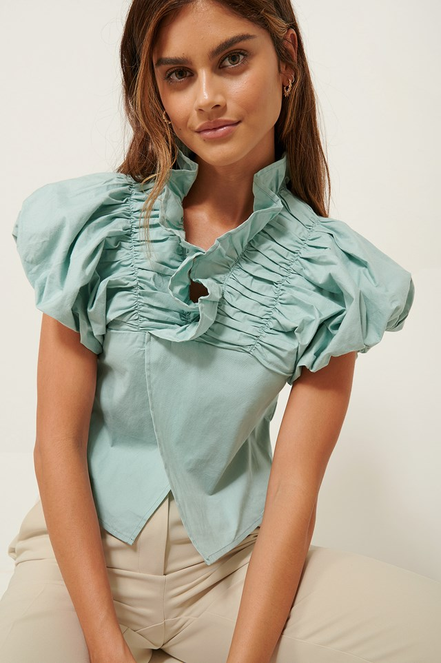 Ruffle Neck Cotton Blouse Blue Green